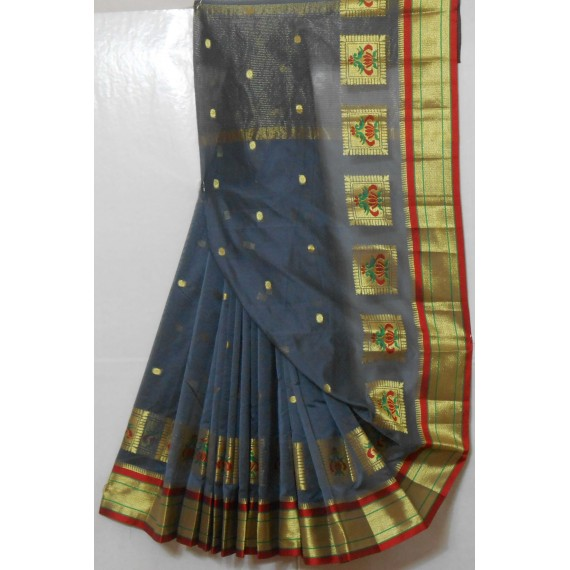 Paithani Soft Cotton Saree With All Over Zari Booti & Brocade