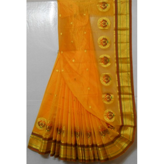 Paithani Soft Cotton Saree With All Over Zari Booti & Peacock Brocade