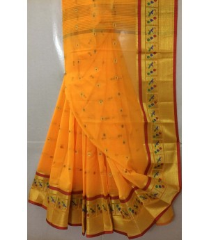 Pure Cotton Booti With Gold Zari Wide Brocade