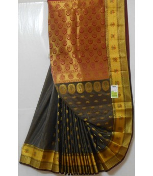 Banarasi Silk Oval Zari Boota All Over Aanchal Saree
