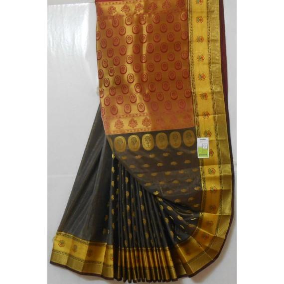 Banarasi Silk Oval Zari Boota All Over Aanchal Saree
