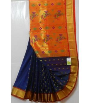 Paithani Silk Saree All Over Zari Booti & Full Gold Zari Aanchal
