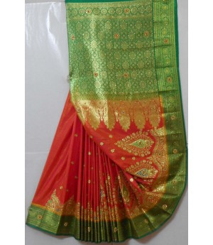 Banarasi Silk Heavy Zari With Embroidery Stone Work Saree