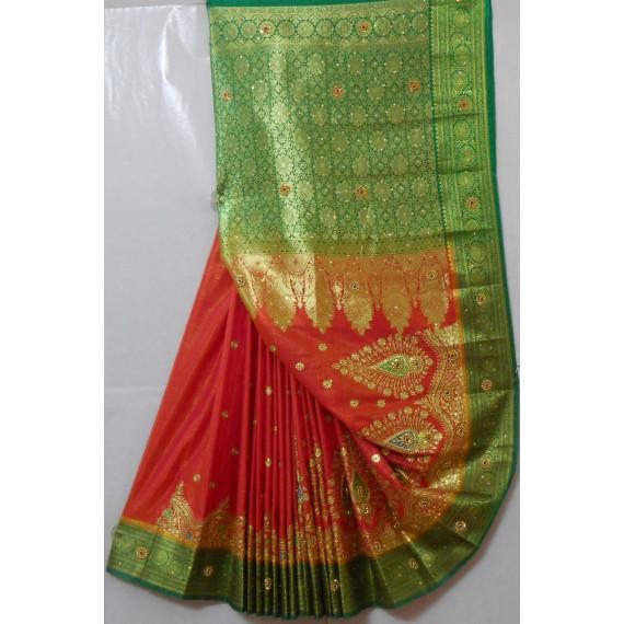 Banarasi Silk Heavy Zari With Embroidery Stone Work Saree