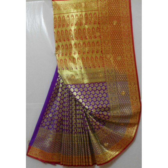 Banarasi Heavy Pick All Over Stone Full Zari Work Saree