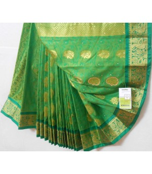 Banarasi Saree All Over Zari Work Aanchal Stone Work