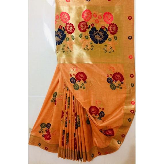 Pure Silk Handloom Saree All Over Pure Resham & Pure Gold Zari Weave