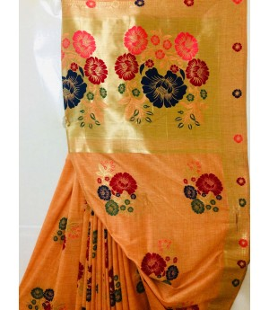 Pure Silk Handloom Saree All Over Pure Resham & Pure Gold Zari Weave