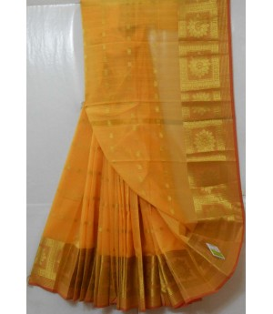 Soft Cotton Booti Saree With Wide Gold Zari Brocade