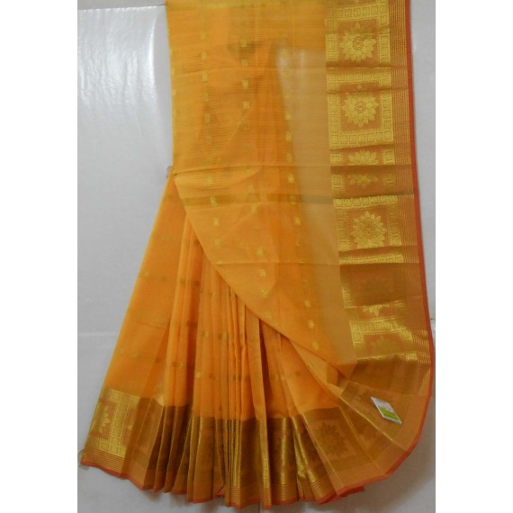 Soft Cotton Booti Saree With Wide Gold Zari Brocade