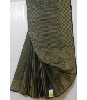 Khadi Resham Flower & Stripes Aanchal Saree