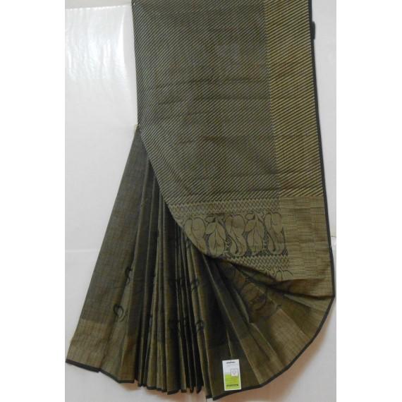 Khadi Resham Flower & Stripes Aanchal Saree
