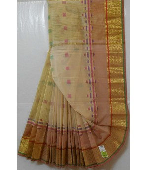 Soft Cotton Resham Boota Saree With Wide Gold Zari Brocade