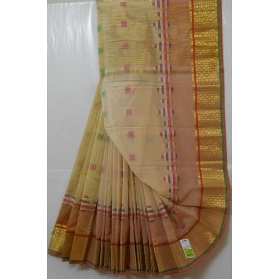 Soft Cotton Resham Boota Saree With Wide Gold Zari Brocade