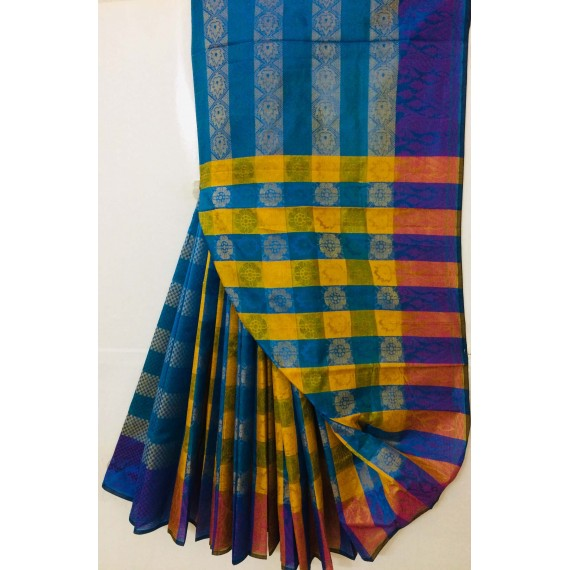 Cotton Patola Multi Color Stripes Resham Work Saree