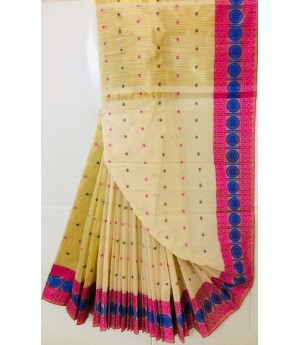 Pure Cotton Saree All Over Resham Booti With Resham Brocade