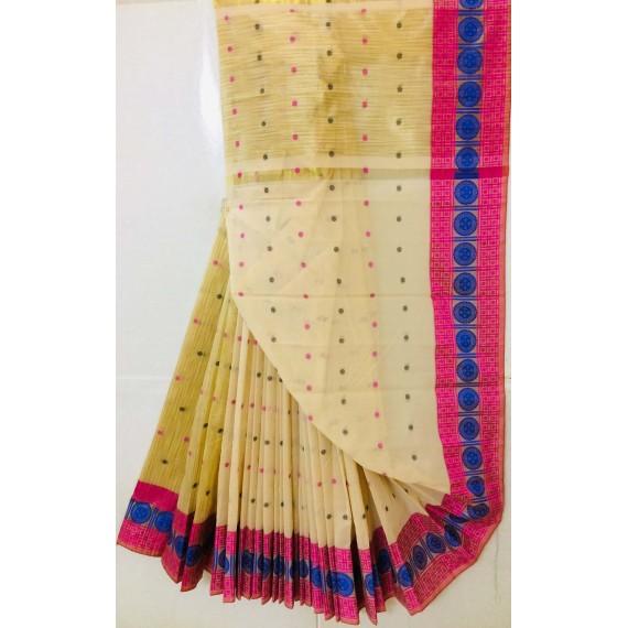 Pure Cotton Saree All Over Resham Booti With Resham Brocade
