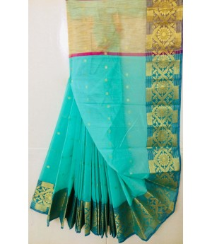 Pure Cotton Saree With Zari Booti All Over & Zari Brocade