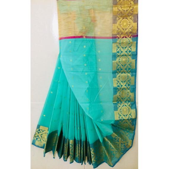 Pure Cotton Saree With Zari Booti All Over & Zari Brocade