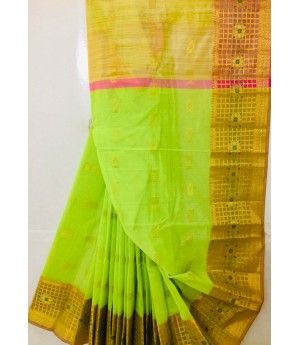 Pure Cotton Saree All Over Zari Boota With Zari Brocade