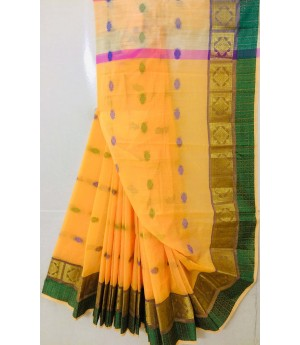 Pure Cotton Saree All Over Resham Boota With Resham & Zari Brocade