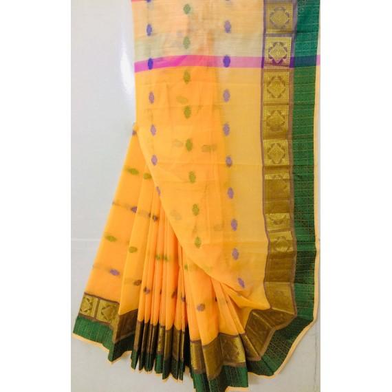 Pure Cotton Saree All Over Resham Boota With Resham & Zari Brocade