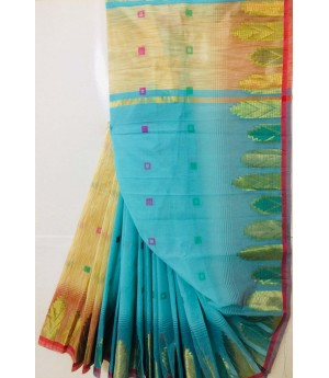 Pure Cotton Saree Resham Square Booti All Over With Zari Temple Brocade