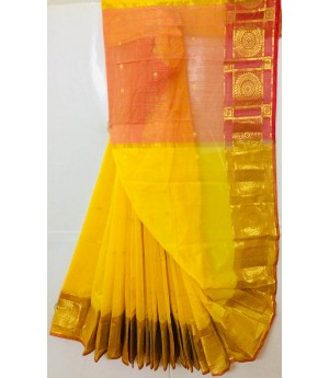 Pure Cotton Saree With All Over Zari Booti & Gold Zari Brocade