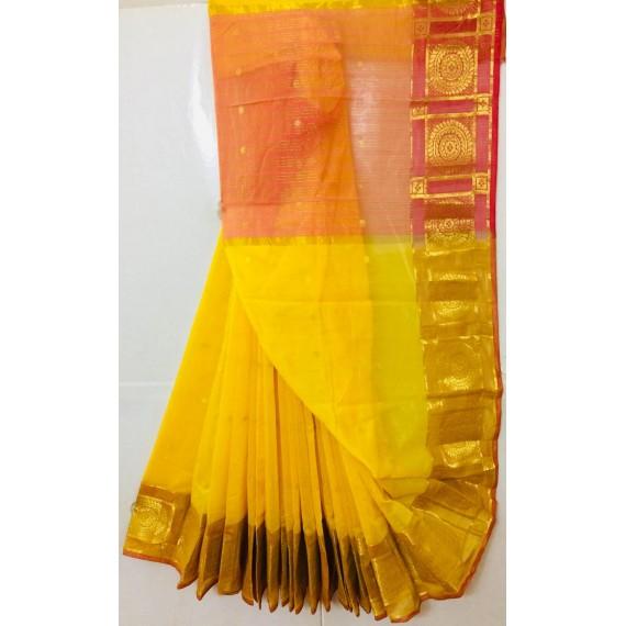 Pure Cotton Saree With All Over Zari Booti & Gold Zari Brocade