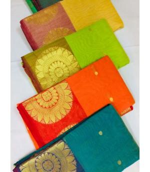 Pure Cotton Saree With All Over Zari Booti & Flower Brocade