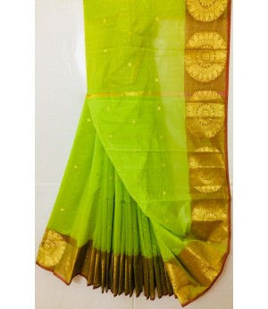 Pure Cotton Saree With All Over Zari Booti & Flower Brocade