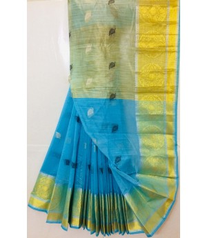 Linen Saree All Over Resham Leaves Shape Booti With Silver Gold Zari Brocade