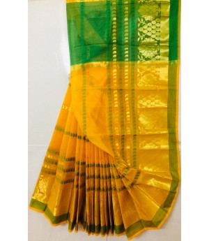 Mango Resham & Zari Booti Saree With Green Resham Bar