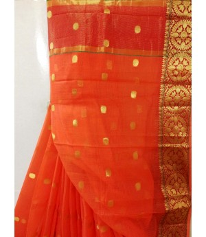 Pure Cotton Kota Saree All Over Oval Zari Booti With Gold Zari Brocade