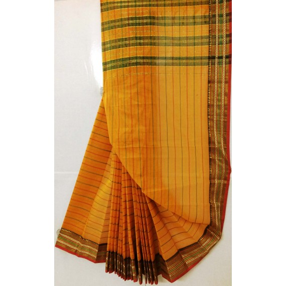 Pure Handloom Cotton Saree All Over Stripes With Zari Resham Brocade