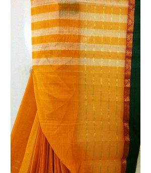 Pure Handloom Mangalagiri Cotton Solid Saree With Green Resham Brocade