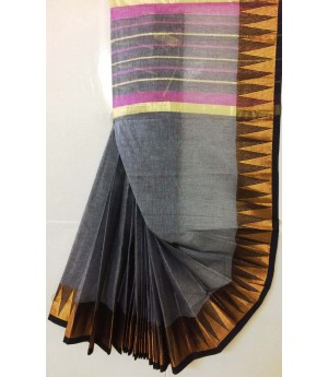 Pure Handloom Cotton Solid Saree With Gold Zari Temple Brocade