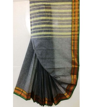 Pure Handloom Cotton Solid Venkatgiri Saree With Gold Zari Brocade