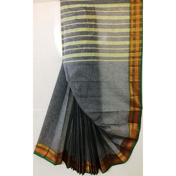 Pure Handloom Cotton Solid Venkatgiri Saree With Gold Zari Brocade