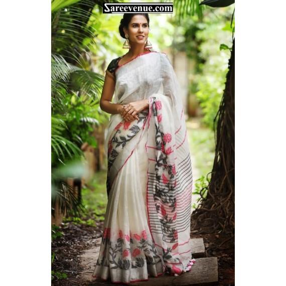 Pure White Linen Digital Printed Saree