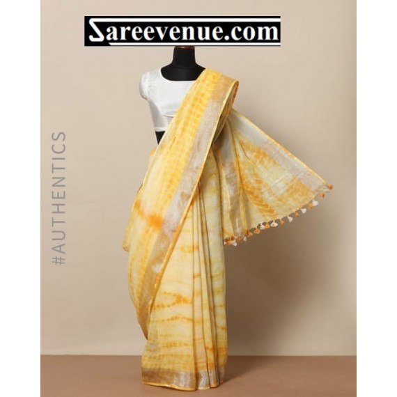 Linen Tye Dye Printed Saree With Silver Aanchal With Tassels Brocade