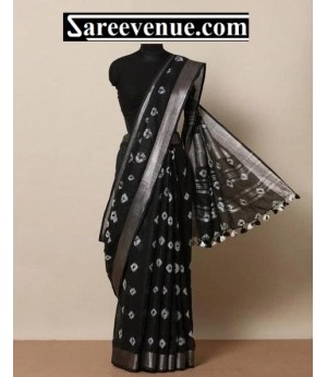Linen Printed Saree With Silver Zari Brocade With Tassels