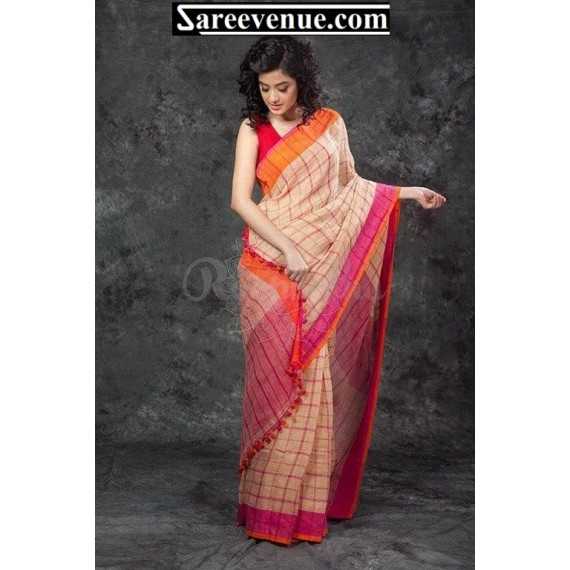 Linen Check All Over Saree Tassels On Brocade