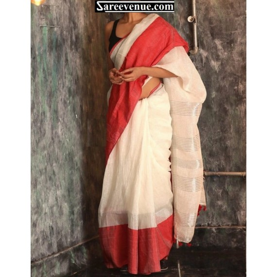 Linen Plain Saree With Silver Stripes Aanchal With Tassels On Brocade