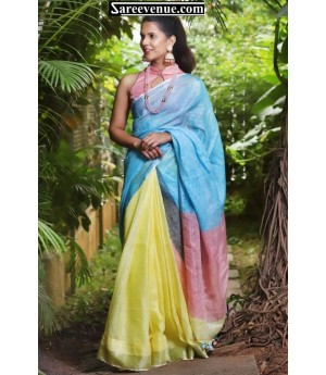 Linen Multi Color Plain Saree With Tassels On Brocade