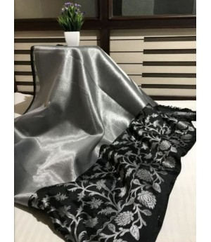 Pure Tissue Silk Banarasi Saree With Silver Zari Weave