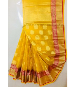 Pure Cotton Kota Patola Saree With All Over Resham Weave & Brocade