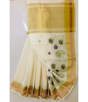 Pure Cotton Embroidery Saree With Stone Work