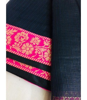 Cotton Kota Plain Saree With Wide Gold Zari Brocade On Satin