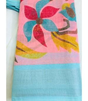 Linen Pastel Color Printed Saree